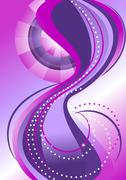Bands of circles and waves on the background with purple hues - stock illustration