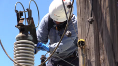 Municipal Utility Work, ground wire safety - stock footage