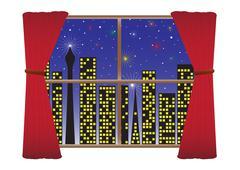 Fireworks City Scene Stock Illustration