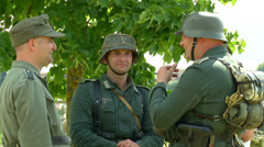 German soldiers during a WWII reenactment 08 Stock Footage