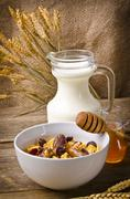 Muesli with low-fat milk and rusk - stock photo