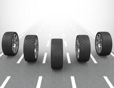 the car tires - stock illustration