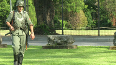 German soldiers during a WWII reenactment - stock footage
