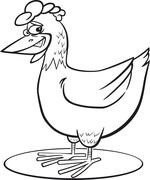 Cartoon hen coloring page Stock Illustration