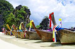 longtail boats - stock photo