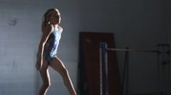 MS PAN Girl (10-11) exercising in gym, Orem, Utah, USA Stock Footage