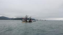 Water Boat Fishing Alaska Stock Footage