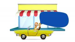 Man driving a convertible near store with bubble cloud talk, stop motion. Stock Footage