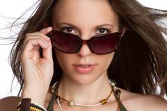 sexy sunglasses woman - stock photo