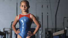 MS TU Portrait of girl (8-9) wearing leotard in gym, Orem, Utah, USA Stock Footage