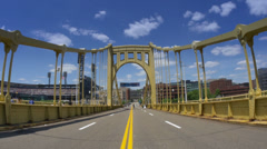 4K Roberto Clemente Bridge and PNC Park Stock Footage