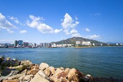 Coastal landscape and residential structure in Hong Kong - stock photo