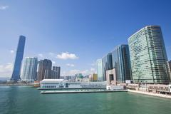 Hong Kong offices and skyline at day Stock Photos