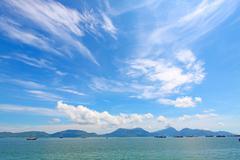 Seascape in Hong Kong at summer time Stock Photos