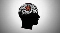 Silhouette of a person with gears Stock Footage