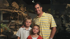 MS PAN Portrait of man with daughter (8-9) and son (10-11) in natural history Stock Footage