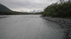 Snow Mountains Trees River Alaska - stock footage