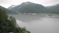 Snow Mountains Trees River Alaska Stock Footage
