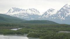 Snow Glacier Mountains Trees River Alaska - stock footage