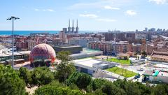 Panoramic view of Badalona and Sant Adria de Besos - stock photo