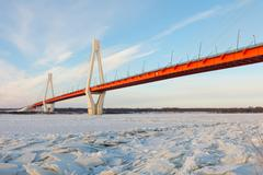 Cable-stayed bridge  in winter Stock Photos