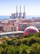 Top view of Badalona and Sant Adria de Besos - stock photo