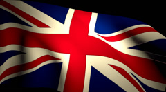 UK Britain Union Jack Flag Closeup Waving Backlit Seamless Loop CG - stock footage