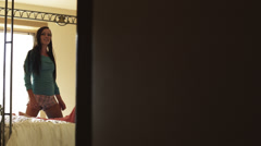 WS PAN Two teenage (16-17) girls fooling around in bedroom, American Fork, Utah, Stock Footage