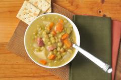 Split pea soup with ham - stock photo
