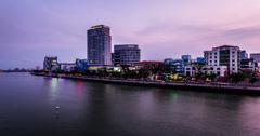 4K-The buildings along Han river at night, Danang, Vietnam Stock Footage