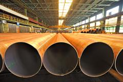 Merchandise for heavy industry steel pipes - stock photo