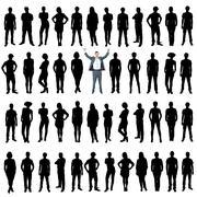 Business people silhouettes, unique concept Stock Photos