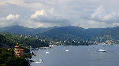 Liguria costline with boats, time-lapse Stock Footage