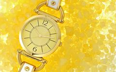 Women's luxury gold wrist watch Stock Photos