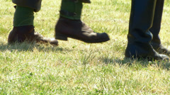 German soldier march boot close up 02 Stock Footage