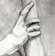 Person's hand gripping an arm - stock illustration