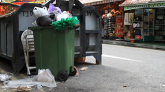 Rubbish bin at the China town in Singapore Stock Footage