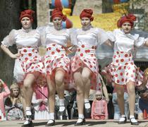 Cabaret dancing group Stock Photos