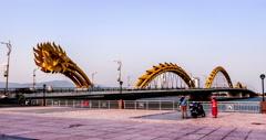 4K-People go to Dragon Bridge for rest in Da Nang, Vietnam Stock Footage