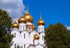 Domes of Assumption cathedral at Yaroslavl Stock Photos