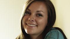 CU Portrait of smiling teenage (16-17) girl, American Fork, Utah, USA Stock Footage