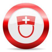 nurse glossy web icon - stock illustration