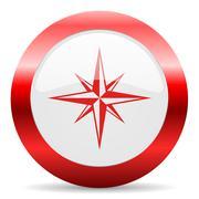 compass glossy web icon - stock illustration