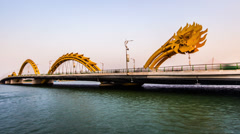 The dragon bridge is a key road acrossing the Han river, Da Nang, Vietnam Stock Footage