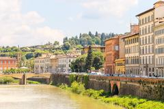 quay of the river arno of the ancient italian city florence. - stock photo