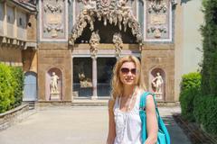 Attractive girl near the grotto buontalenti in the boboli gardens. florence,  Stock Photos