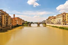 Ponte santa trinita bridge over the arno river  in florence, italy. Stock Photos