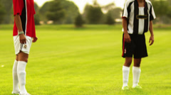 SLO MO MS TU CU Two soccer players bouncing ball with head on  field, Orem, Stock Footage