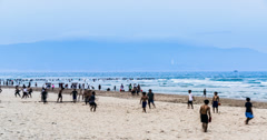 4K-People do sports at the beach in Da Nang, Vietnam Stock Footage