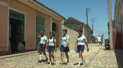 Cuban teenage pupils in school uniform Stock Footage